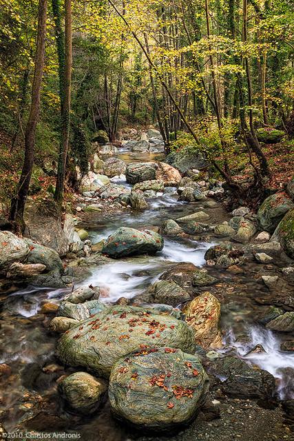 Luminous rocks, Kissos stream, Mount Pelion, Greece ...
