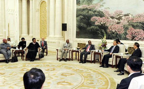 Li Yuanchao (3rd R), a member of the Political Bureau of the Communist Party of China (CPC) Central Committee, a member of the CPC Central Committee Secretariat and head of the Organization Department of the CPC Central Committee, meets SA delegations. by Pan-African News Wire File Photos