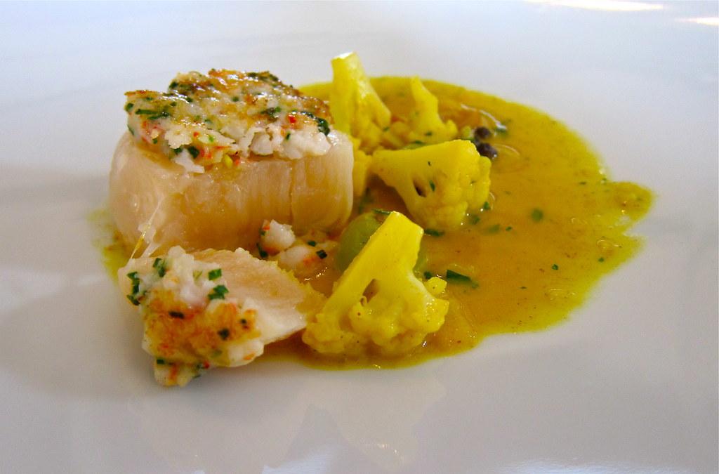 Course 4: Maine Scallop & Sweet Shrimp, Curried Cauliflowe