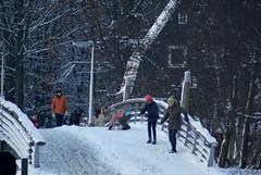 Spelende kinderen in sneeuw op brug