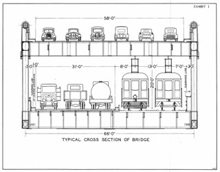 San Francisco-Oakland Bay Bridge Interurban Railroad: Typical Cross Section of Bridge (1933)