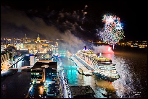 Queen Victoria in Liverpool with fireworks