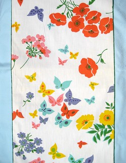 "12"" Wide Butterflies and Poppies Vintage Cotton Fabric"