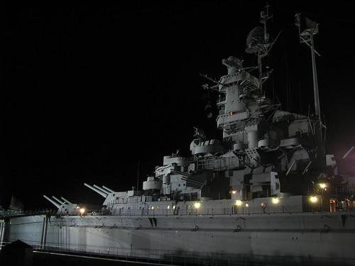 mobile night ship alabama battleship warship ussalabama battleshipmemorialpark