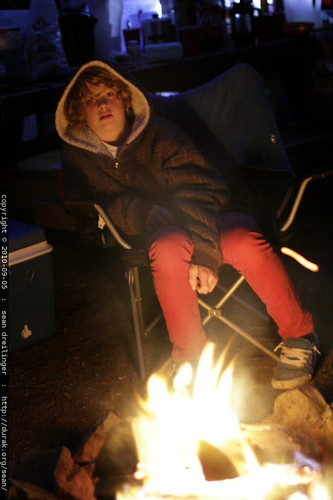 yavin at the campfire after dark
