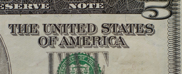 The United States Of America - as inscribed on the face of a US five dollar bill (2013)