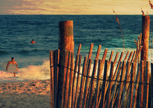 ocean sunset beach fence sand surf surfer dunes wrightsvillebeach textured seaoats layered hff vintaged coastalcarolinas coffeeshopatn