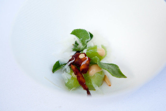"Cucumbers in miso ""bagna cauda"", whipped nasturtium flower, square roots & coffee, marcona almonds, Jeremy Fox"