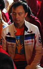 Meditator, Keith Herring t-shirt and jacket, Sakya Lamdre, Tharlam Monastery, Boudha, Kathmandu, Nepal