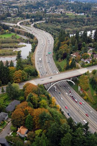 bridge autumn washington highway aerial olympia aerialphotography capitallake capitalway ~elm