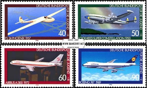 Známky Západné Nemecko 1980 Lietadlá, razítkovaná séria