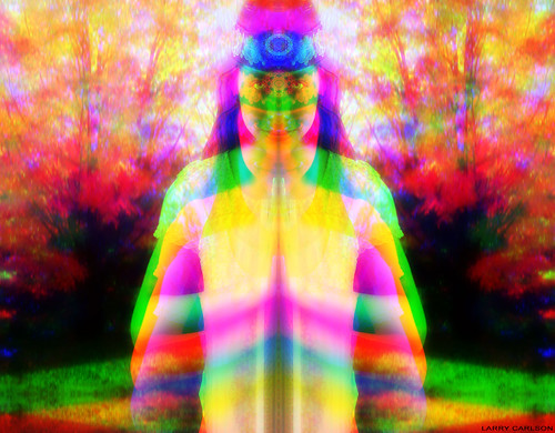 LARRY CARLSON, DOUBLE RAINBOW GIRL, c-print, 30x34in., 2011. by LARRY  CARLSON