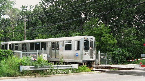 Southbound CTA purple line train crossing Isabella Street. Wilmette Illinois. July 2010. by Eddie from Chicago