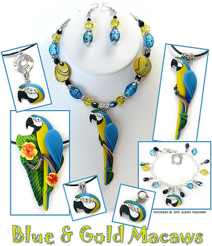 Blue & Gold Macaw Polymer Clay Jewelry by Alicia Merritt