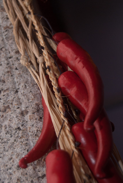 Chili hung in traditional chinese kitchen