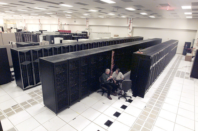 Roadrunner Base Capacity system at Los Alamos National Laboratory (LANL) is now at more than 70 teraFLOPS operating speed. Roadrunner, a hybrid supercomputer, uses a video game chip to propel performance to petaflop/s speeds capable of more than a thousand trillion calculations per second.