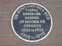 Photo of Rowland Hill blue plaque