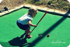 grass(1.0), play(1.0), sports(1.0), recreation(1.0), outdoor recreation(1.0), leisure(1.0), games(1.0), green(1.0), golf(1.0), miniature golf(1.0), ball game(1.0),