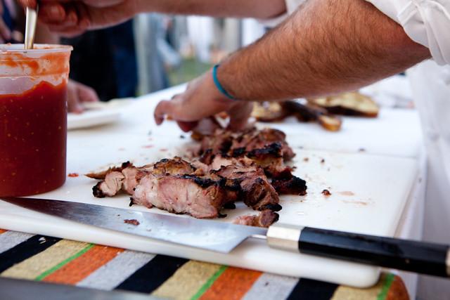 Wood-grilled pork ribeye, smoked tomato jam by Laurence Jossel of Nopa, SF