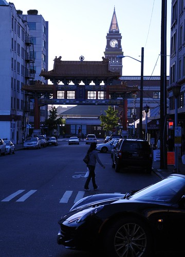 International District at nightfall, downtown, Buddhist arch, clock tower, 5 til 6 pm, sports car, Seattle, Washington, USA by Wonderlane