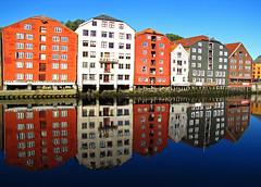 Mirroring Trondheim waterfront