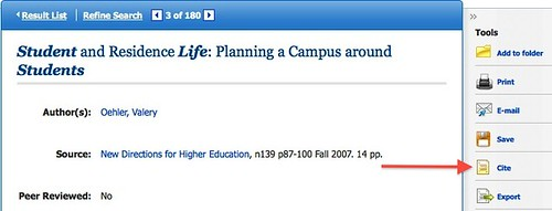 Screenshot from EBSCO with format option highlighted