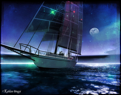 Sailing at night by Kahlan Bingyi