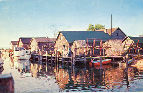 Leland MI 1950s Fishtown Docks and Commercial Fish Tug and Nets before major Tourism as the Village Mainstay  LL Cook Card 98299 112V Unsent