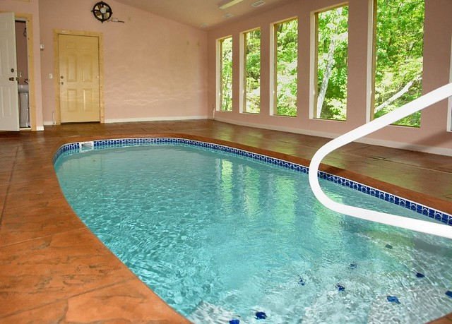 Heated Indoor Swimming Pool In This Large Gatlinburg Cabin Rental In The Smoky Mountains Of