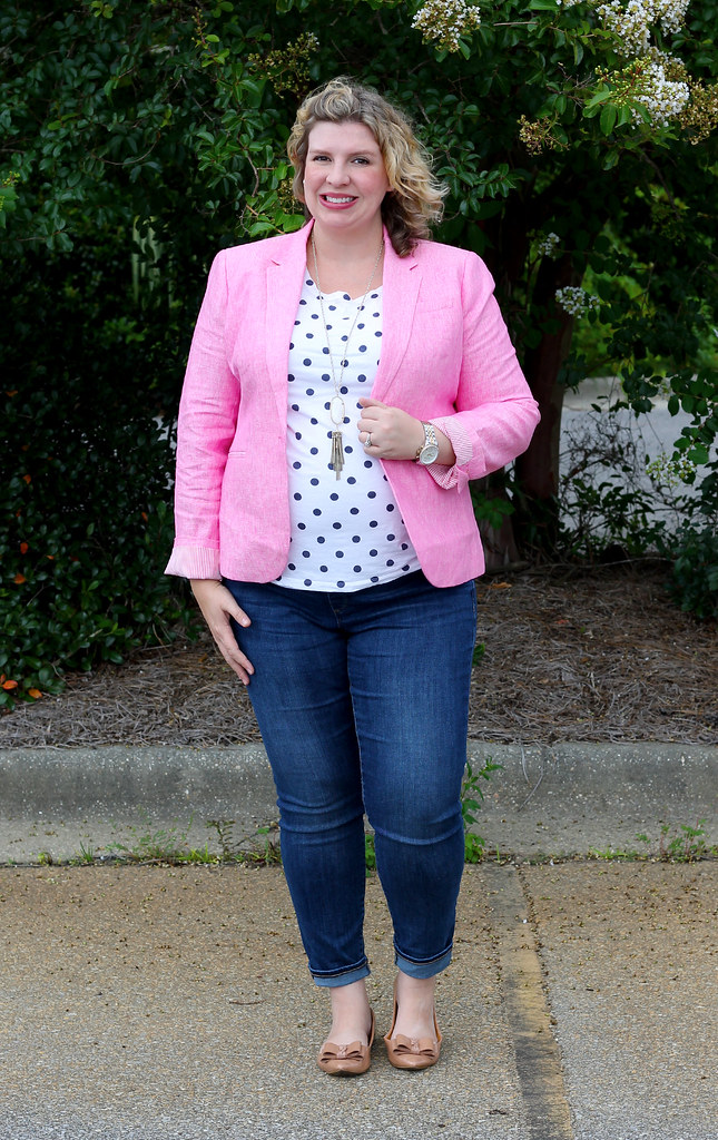 pink blazer, polka dot tee and maternity jeans 4