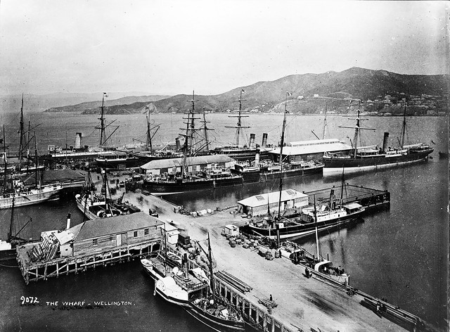 Photo of Queens Wharf in 1887, showing the extent of Mercantile shipping that was carried out in Wellingtons early days.