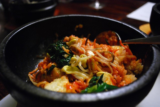 Vegetable Dolsot Bibimbap - unmixed - Goshen