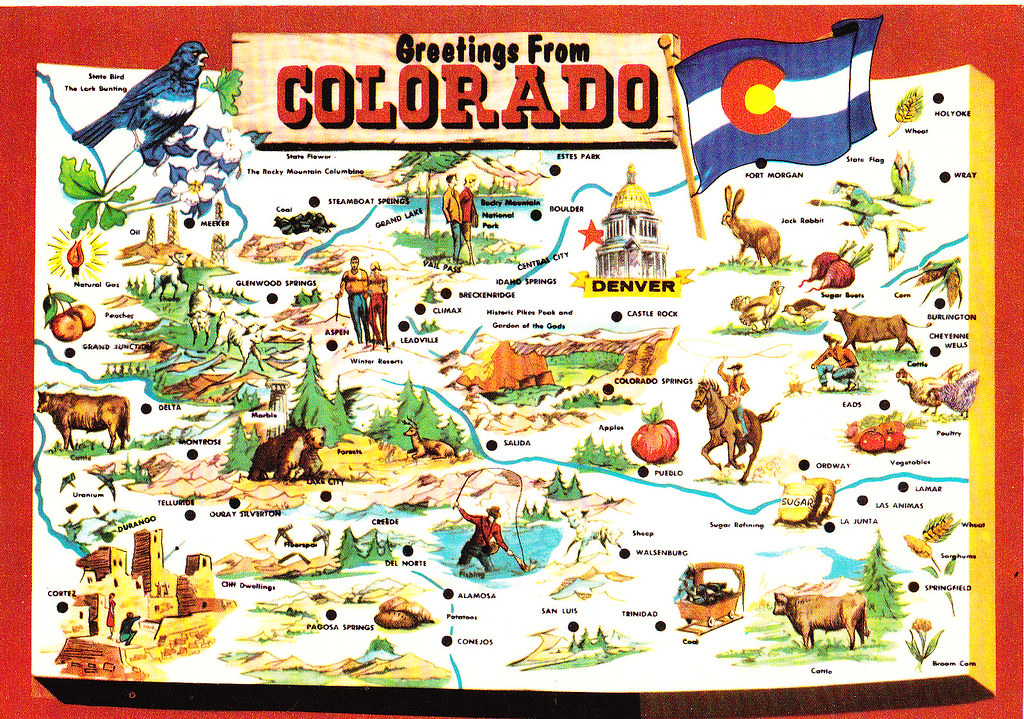 Colorado State Greetings From Map Postcard Colorado Cent Flickr
