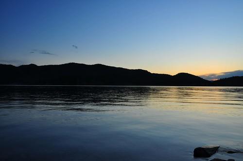 sunset lake tree water rock southdakota blackhills pactolareservoir