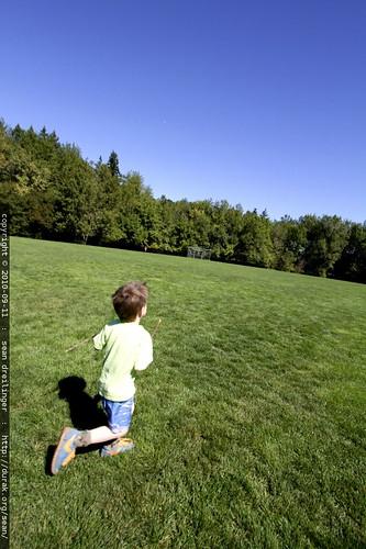 running past hallinan playground