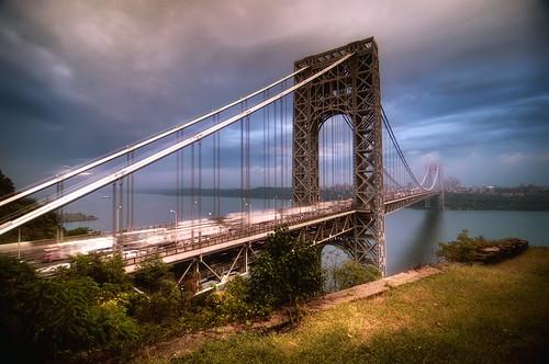 nyc newyorkcity longexposure morning bridge light newyork truck sunrise geotagged newjersey traffic manhattan nj semi gothamist georgewashington hdr gwb fortlee georgewashingtonbridge washingtonheights lighttrail mudpig stevekelley