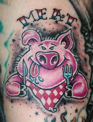 Meat pig tattoo by tim baxley southside tattoo for Peppa pig tattoo