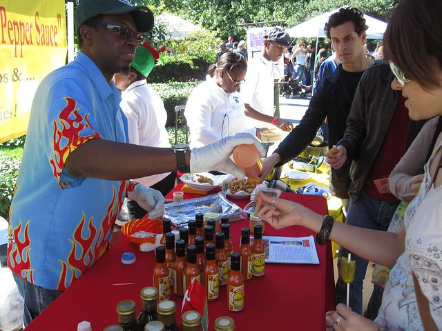 Hot sauce tasting at the Chile Pepper Fiesta. Photo by Dave Allen.