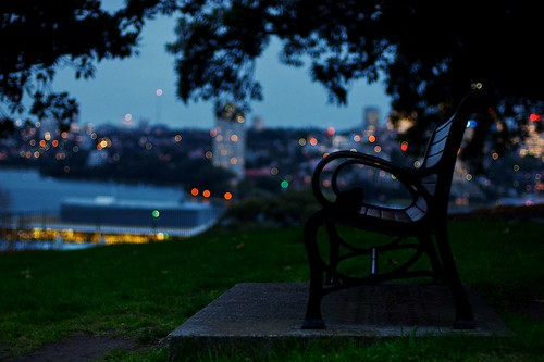 life park city school light sunset urban colour tree night dark bench 50mm quiet dof bokeh harbour dusk empty seat sydney australia silence tgif
