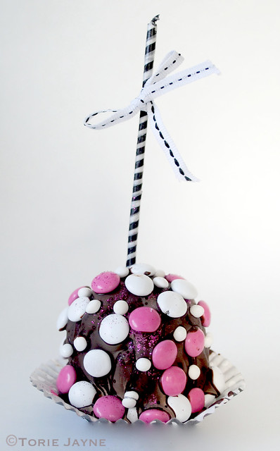 Chocolate dipped M&M candy apple