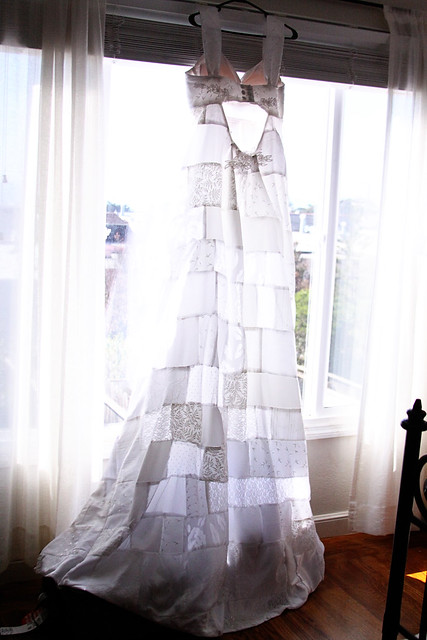 Her amazing patchwork wedding dress that her mother in law for Should mother in law see wedding dress