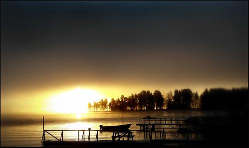 autumn mist lake cold water fog sunrise pier boat sweden dalstuga
