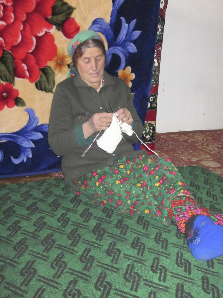 A woman knitting, Tajikistan