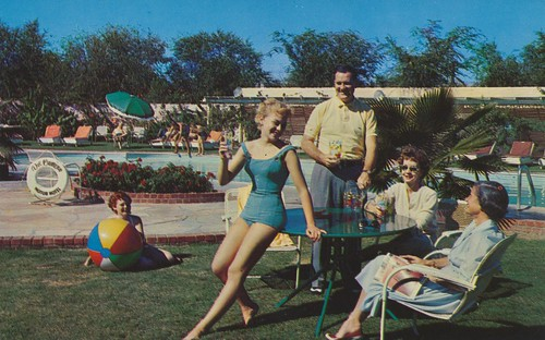 vintage texas postcard motel elpaso swimsuit bathingsuit swimwear maillot motorhotel delcamino