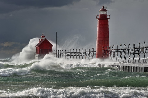 """Nature's Fury""  Grand Haven Michigan Lighthouse,  Lake Michigan   ""Front page Explore # 3 Oct 28, 2010"""