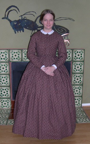 The Fashionable Past: A Brown and Pink Cotton Print 1860s Dress