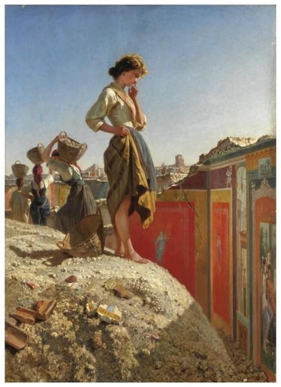 """Rome - Pompeii: The Collapse of the 'Schola Armaturarum' (III. 3.6) / Pompei, crolla l' Ameria dei Gladiatori. November 6th, 2010. Painting - FILIPPO PALIZZI, """"GLI SCAVI DI POMPEI,"""" firmato e datato in basso a sinistra Fili. Palizzi / 1870."""