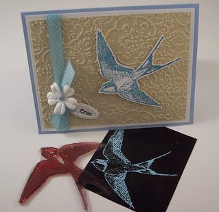 Bird Card with Home Made Stamp