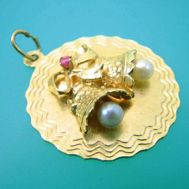 Gold Wedding Bells: Gd39 Vintage 14k Gold Wedding Bells Charm (1)