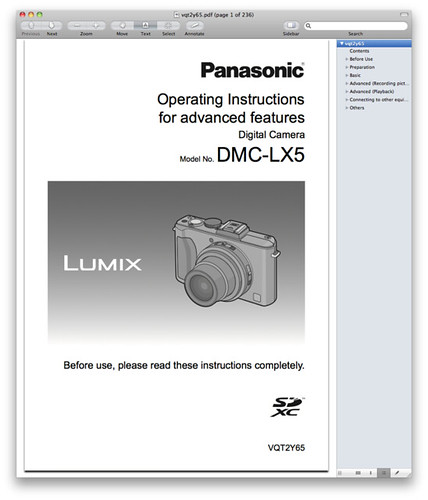 Panasonic LX5 Manual -- Advanced Operating Instructions